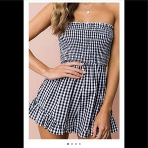small Black and white Gingham checkered romper.